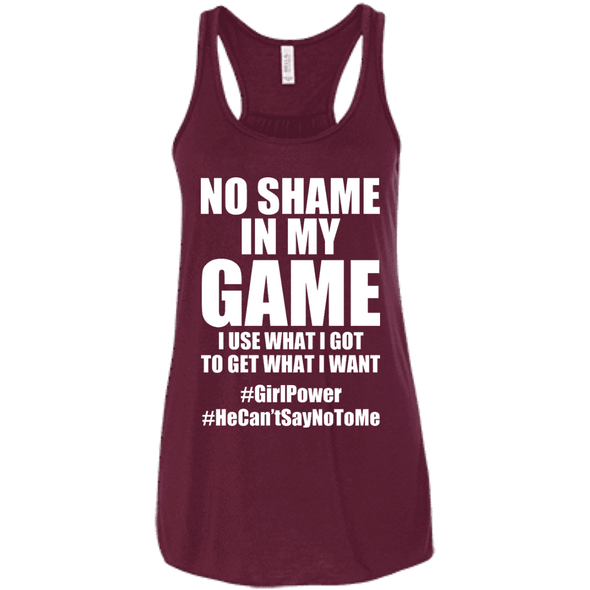 No Shame in My No Game Apparel CustomCat B8800 Bella + Canvas Flowy Racerback Tank Maroon X-Small