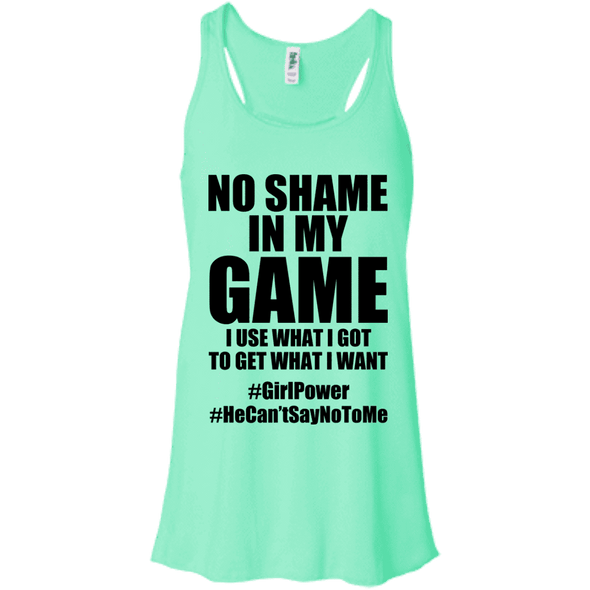 No Shame in My No Game Apparel CustomCat B8800 Bella + Canvas Flowy Racerback Tank Mint X-Small