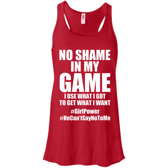 No Shame in My No Game Apparel CustomCat B8800 Bella + Canvas Flowy Racerback Tank Red X-Small
