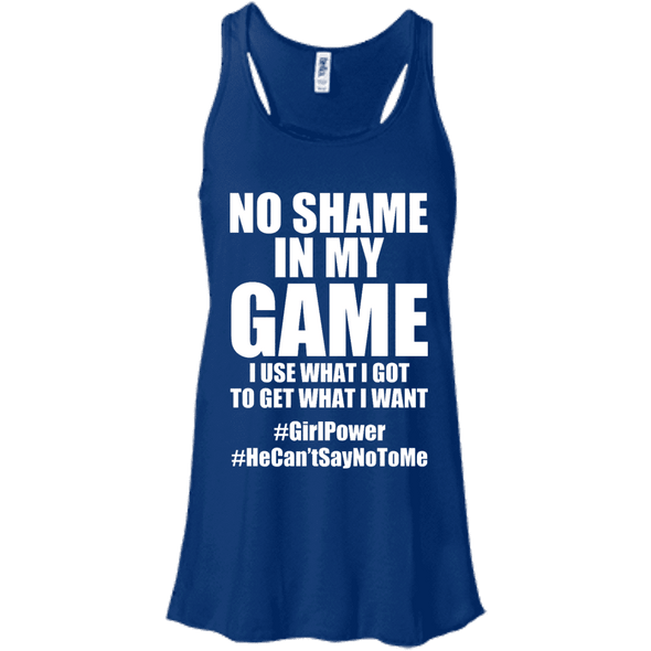 No Shame in My No Game Apparel CustomCat B8800 Bella + Canvas Flowy Racerback Tank True Royal X-Small