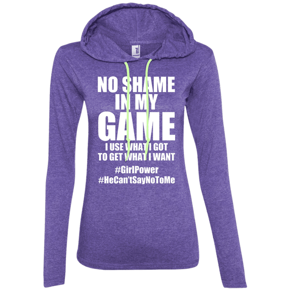 No Shame in My No Game Hoodies Apparel CustomCat 887L Anvil Ladies' LS T-Shirt Hoodie Heather Purple/Neon Yellow Small