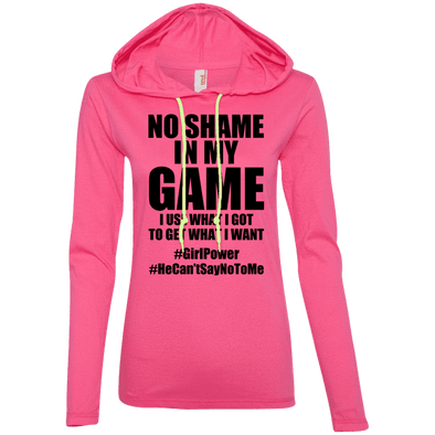 No Shame in My No Game Hoodies Apparel CustomCat 887L Anvil Ladies' LS T-Shirt Hoodie Hot Pink/Neon Yellow Small