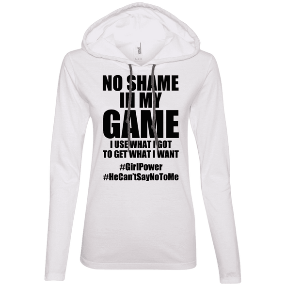 No Shame in My No Game Hoodies Apparel CustomCat 887L Anvil Ladies' LS T-Shirt Hoodie White/Dark Grey Small