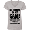 No Shame in My No Game Tees Apparel CustomCat 88VL Anvil Ladies' V-Neck T-Shirt Heather Grey Small