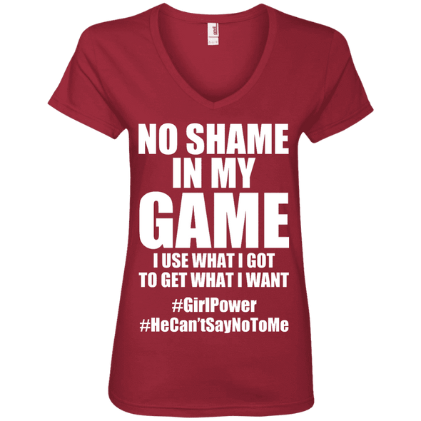 No Shame in My No Game Tees Apparel CustomCat 88VL Anvil Ladies' V-Neck T-Shirt Independence Red Small