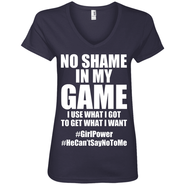 No Shame in My No Game Tees Apparel CustomCat 88VL Anvil Ladies' V-Neck T-Shirt Navy Small