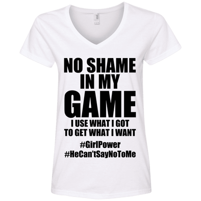 No Shame in My No Game Tees Apparel CustomCat 88VL Anvil Ladies' V-Neck T-Shirt White Small