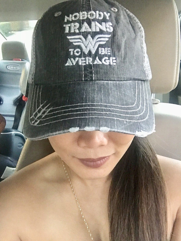 Nobody Trains to be Average Distressed Trucker Cap Apparel CustomCat