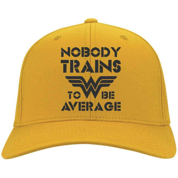 Nobody Trains to be Average hat black Hats CustomCat Gold One Size