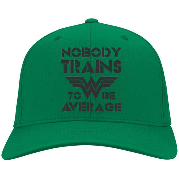 Nobody Trains to be Average hat black Hats CustomCat Kelly Green One Size