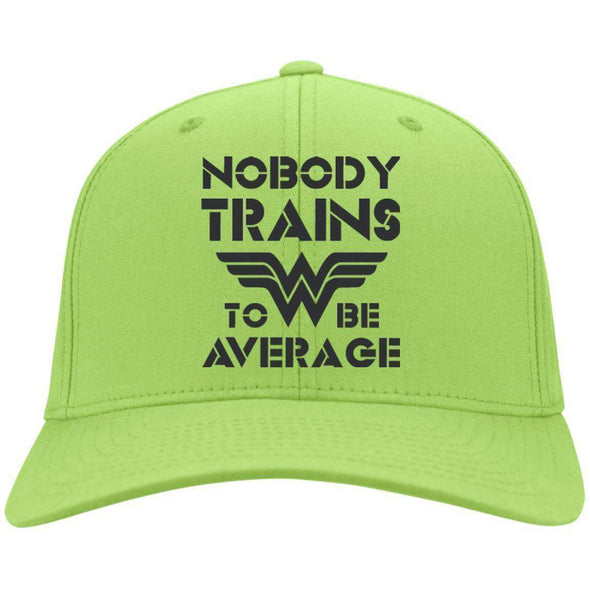 Nobody Trains to be Average hat black Hats CustomCat Lime One Size