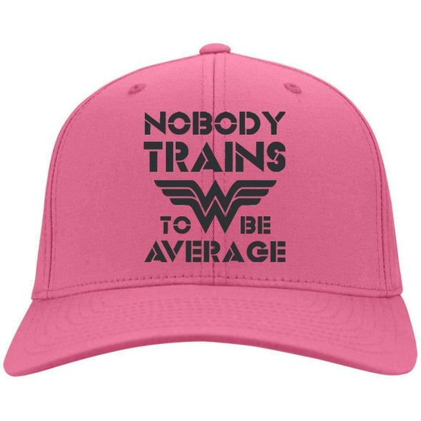 Nobody Trains to be Average hat black Hats CustomCat Neon Pink One Size