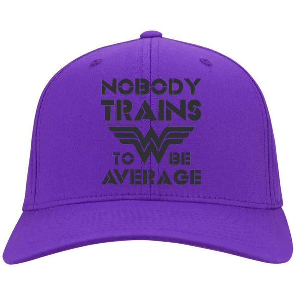 Nobody Trains to be Average hat black Hats CustomCat Purple One Size