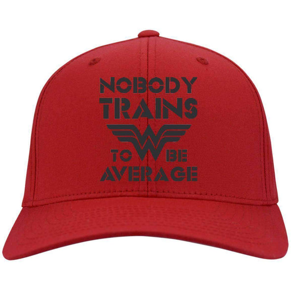 Nobody Trains to be Average hat black Hats CustomCat Red One Size