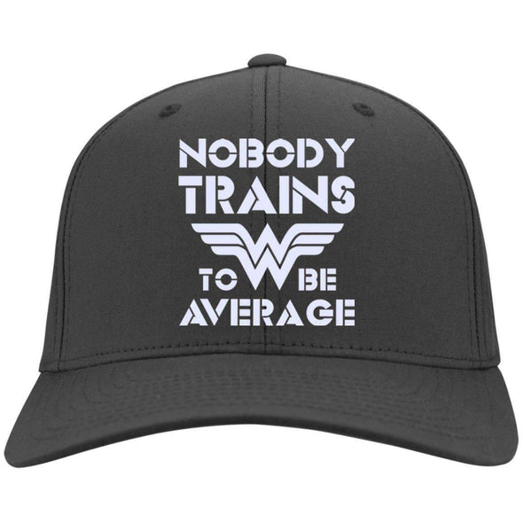 Nobody Trains to be Average hat Hats CustomCat Charcoal One Size