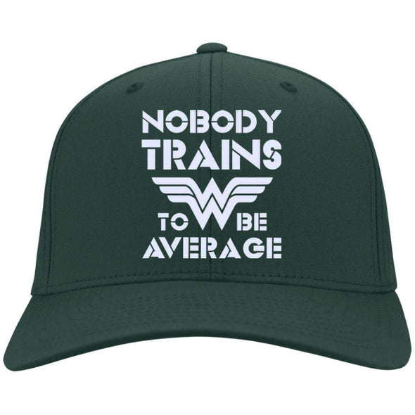 Nobody Trains to be Average hat Hats CustomCat Hunter Green One Size