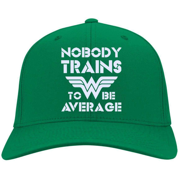 Nobody Trains to be Average hat Hats CustomCat Kelly Green One Size