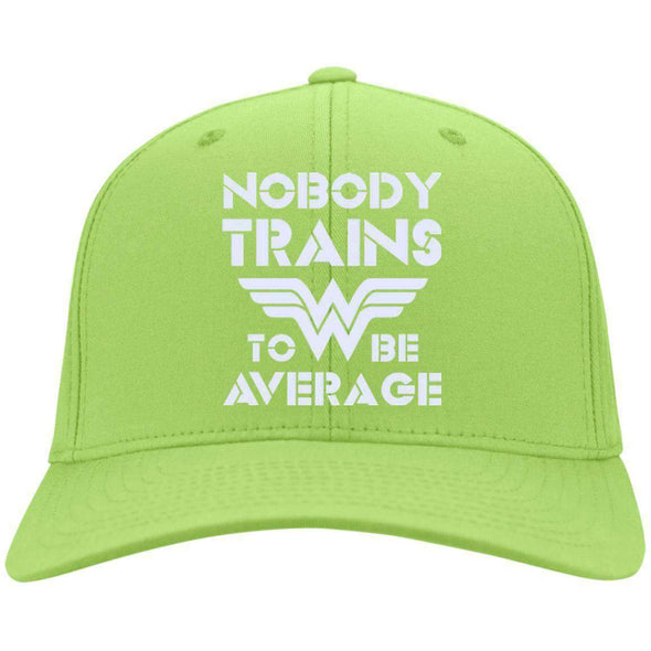 Nobody Trains to be Average hat Hats CustomCat Lime One Size