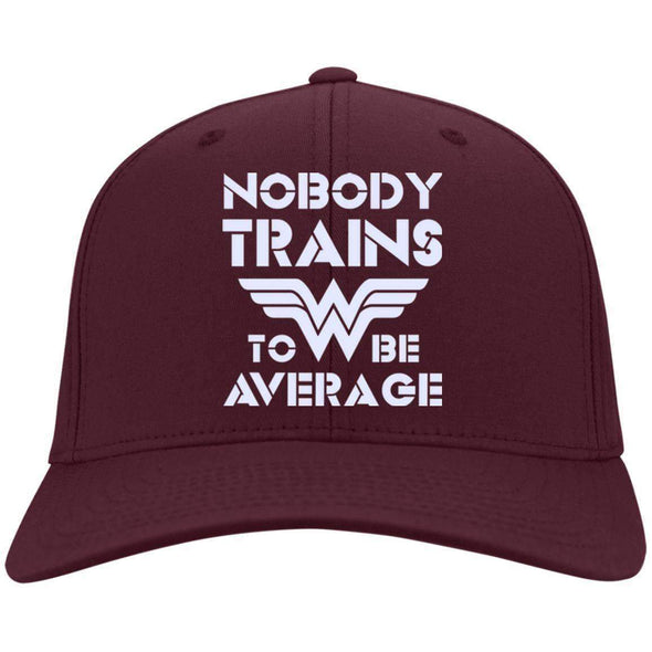 Nobody Trains to be Average hat Hats CustomCat Maroon One Size