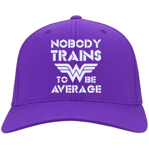 Nobody Trains to be Average hat Hats CustomCat Purple One Size