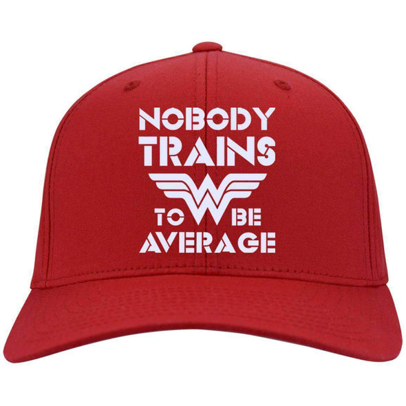 Nobody Trains to be Average hat Hats CustomCat Red One Size