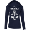 Not a Victoria's Secret Model Hoodies Apparel CustomCat 887L Anvil Ladies' LS T-Shirt Hoodie Navy/Dark Grey Small