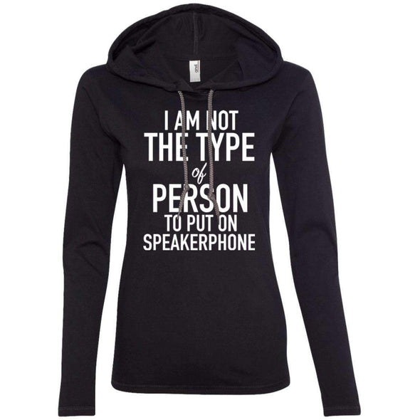 NOT ON SPEAKERPHONE T-Shirts CustomCat Black/Dark Grey Small