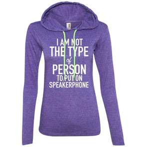 NOT ON SPEAKERPHONE T-Shirts CustomCat Heather Purple/Neon Yellow Small