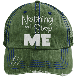 Nothing Will Stop Me Hats CustomCat Dark Green/Navy One Size