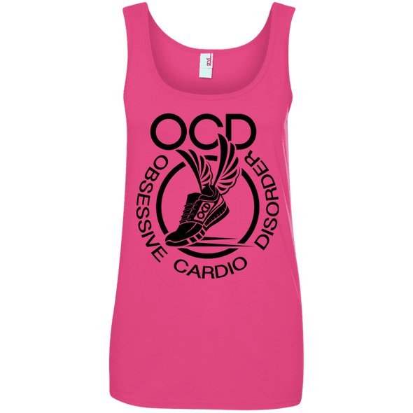 Obsessive Cardio Disorder Apparel CustomCat 882L Anvil Ladies' 100% Ringspun Cotton Tank Top Hot Pink Small