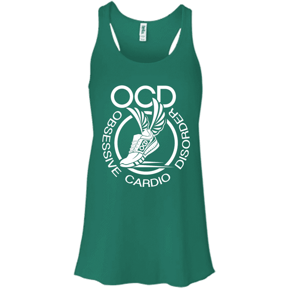 Obsessive Cardio Disorder Apparel CustomCat B8800 Bella + Canvas Flowy Racerback Tank Kelly X-Small