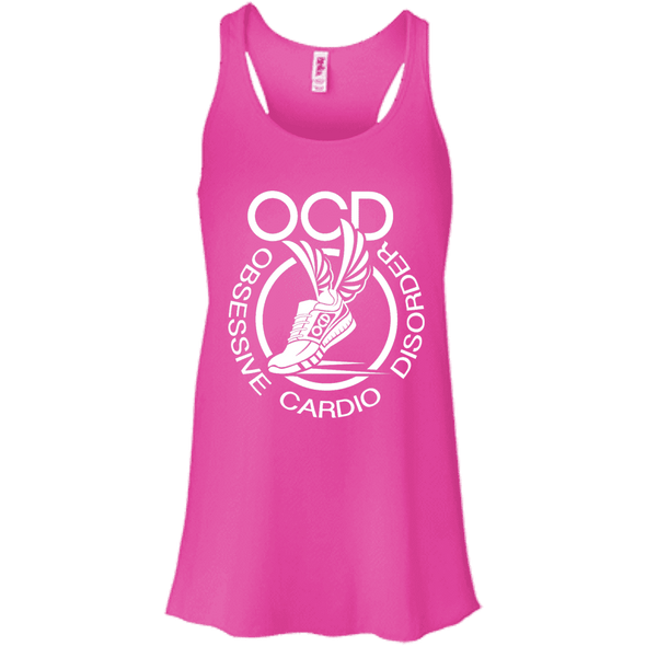 Obsessive Cardio Disorder Apparel CustomCat B8800 Bella + Canvas Flowy Racerback Tank Neon Pink X-Small