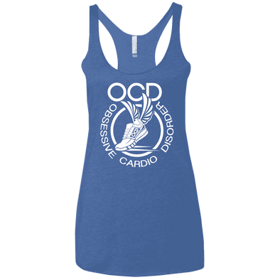 Obsessive Cardio Disorder Apparel CustomCat NL6733 Next Level Ladies' Triblend Racerback Tank Vintage Royal X-Small