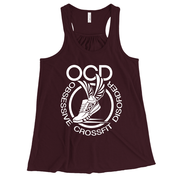 Obsessive Crossfit Disorder Apparel CustomCat B8800 Bella + Canvas Flowy Racerback Tank Maroon X-Small