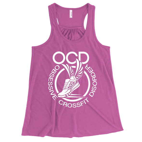 Obsessive Crossfit Disorder Apparel CustomCat B8800 Bella + Canvas Flowy Racerback Tank Neon Pink X-Small