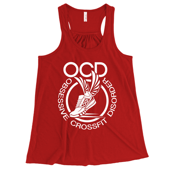 Obsessive Crossfit Disorder Apparel CustomCat B8800 Bella + Canvas Flowy Racerback Tank Red X-Small