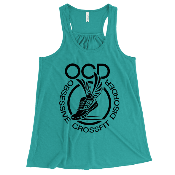 Obsessive Crossfit Disorder Apparel CustomCat B8800 Bella + Canvas Flowy Racerback Tank Teal X-Small