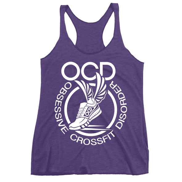 Obsessive Crossfit Disorder Apparel CustomCat NL6733 Next Level Ladies' Triblend Racerback Tank Purple X-Small