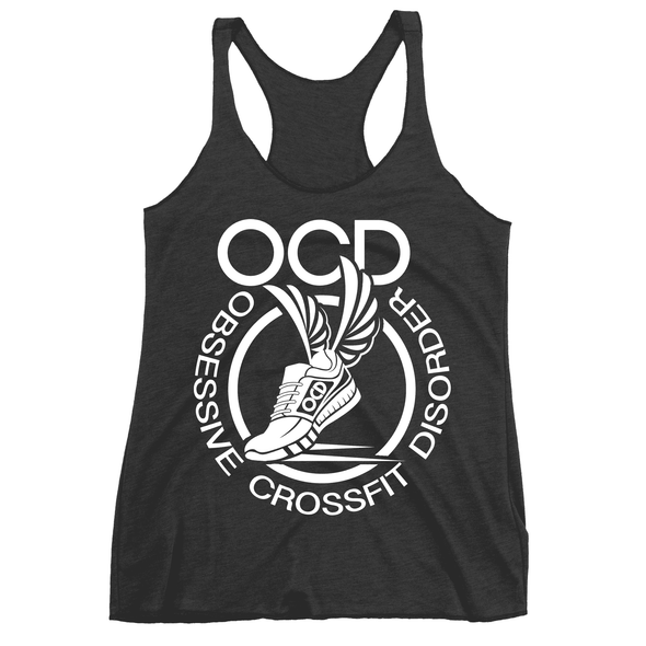 Obsessive Crossfit Disorder Apparel CustomCat NL6733 Next Level Ladies' Triblend Racerback Tank Vintage Black X-Small