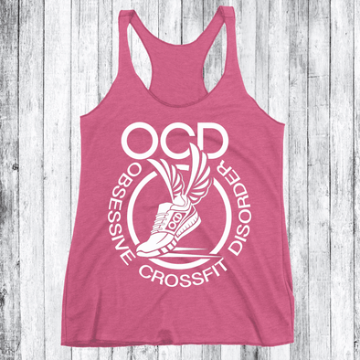 Obsessive Crossfit Disorder Apparel CustomCat NL6733 Next Level Ladies' Triblend Racerback Tank Vintage Pink X-Small