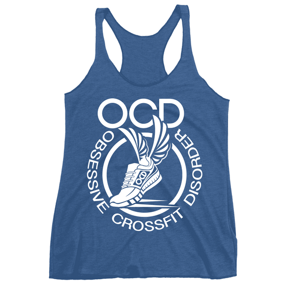 Obsessive Crossfit Disorder Apparel CustomCat NL6733 Next Level Ladies' Triblend Racerback Tank Vintage Royal X-Small