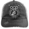 Obsessive Crossfit Disorder Trucker Cap Apparel CustomCat 6990 Distressed Unstructured Trucker Cap Black/Grey One Size