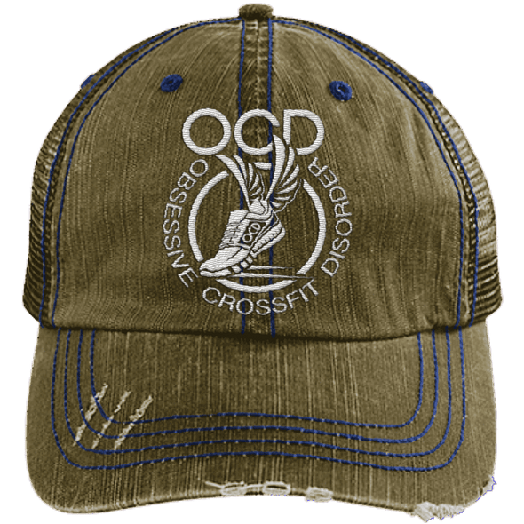 Obsessive Crossfit Disorder Trucker Cap Apparel CustomCat 6990 Distressed Unstructured Trucker Cap Brown/Navy One Size