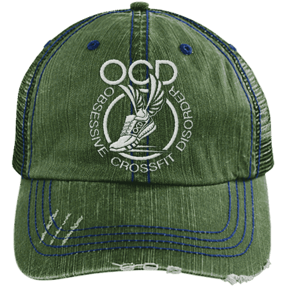 Obsessive Crossfit Disorder Trucker Cap Apparel CustomCat 6990 Distressed Unstructured Trucker Cap Dark Green/Navy One Size