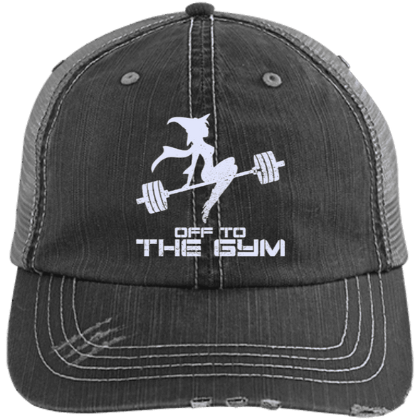 Off to the Gym Distressed Trucker Cap Apparel CustomCat 6990 Distressed Unstructured Trucker Cap Black/Grey One Size