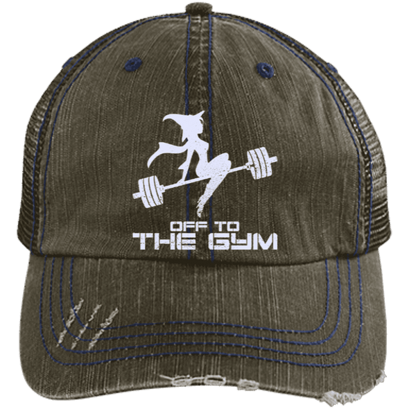 Off to the Gym Distressed Trucker Cap Apparel CustomCat 6990 Distressed Unstructured Trucker Cap Brown/Navy One Size