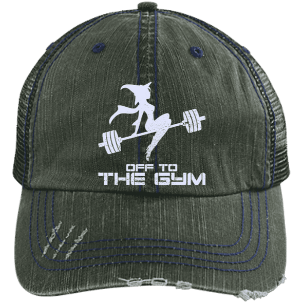 Off to the Gym Distressed Trucker Cap Apparel CustomCat 6990 Distressed Unstructured Trucker Cap Dark Green/Navy One Size