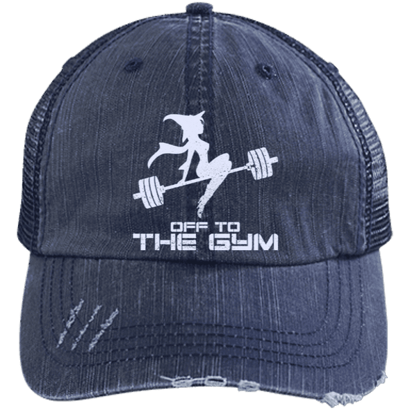 Off to the Gym Distressed Trucker Cap Apparel CustomCat 6990 Distressed Unstructured Trucker Cap Navy/Navy One Size