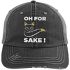 Oh For Fox Sake! Distressed Trucker Cap Apparel CustomCat 6990 Distressed Unstructured Trucker Cap Black/Grey One Size