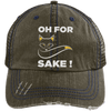 Oh For Fox Sake! Distressed Trucker Cap Apparel CustomCat 6990 Distressed Unstructured Trucker Cap Brown/Navy One Size